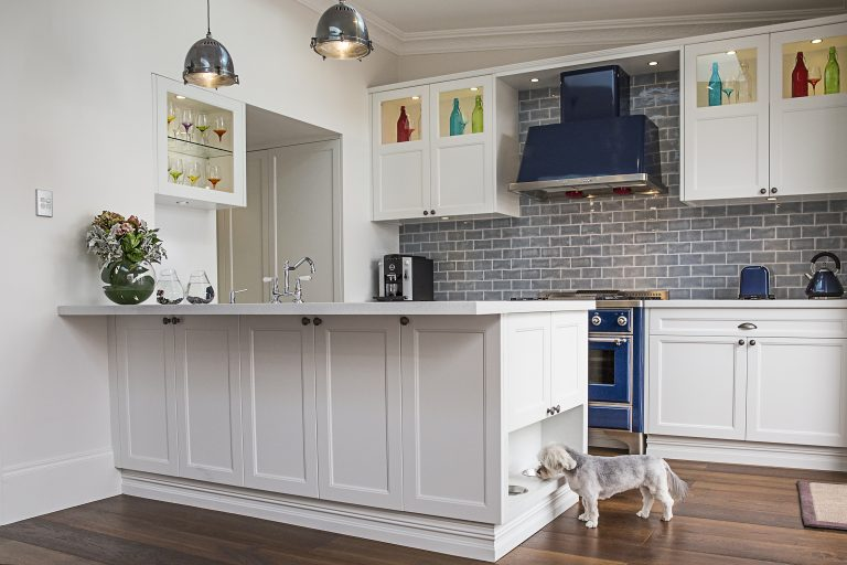 Hamptons Style Kitchen in Cronulla with Pet Feeding Station