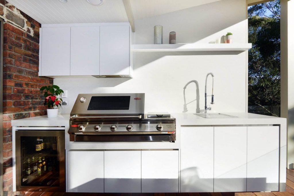Outdoor kitchen BBQ built in white cupboards Sutherland Shire