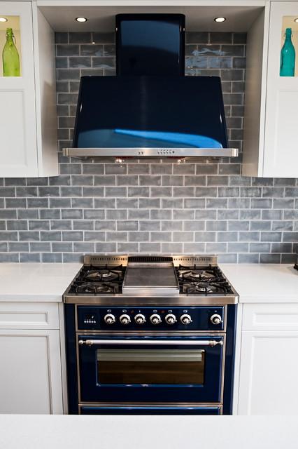 Blue kitchen appliances in a Hamptons style kitchen