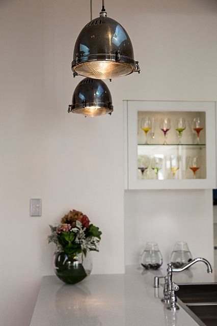 Industrial Pendant Lighting Used Over A Kitchen Benchtop Island in Cronulla Sutherannd Shire