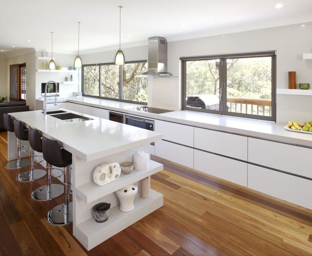 Modern White Kitchen Ideas with island bench