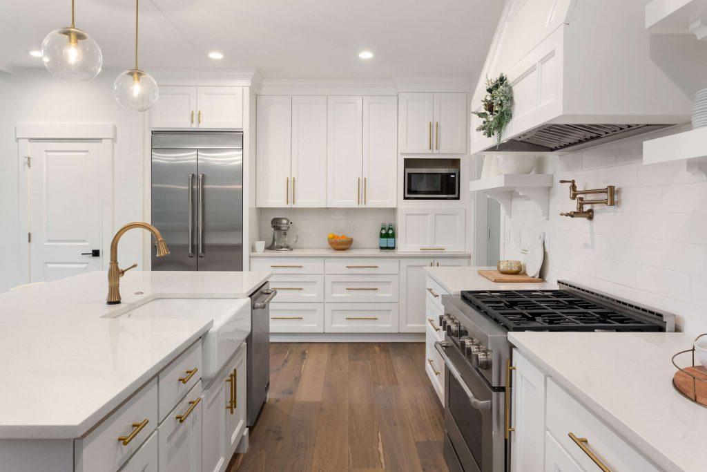 Gold Handles Kitchen white cupboards Miranda