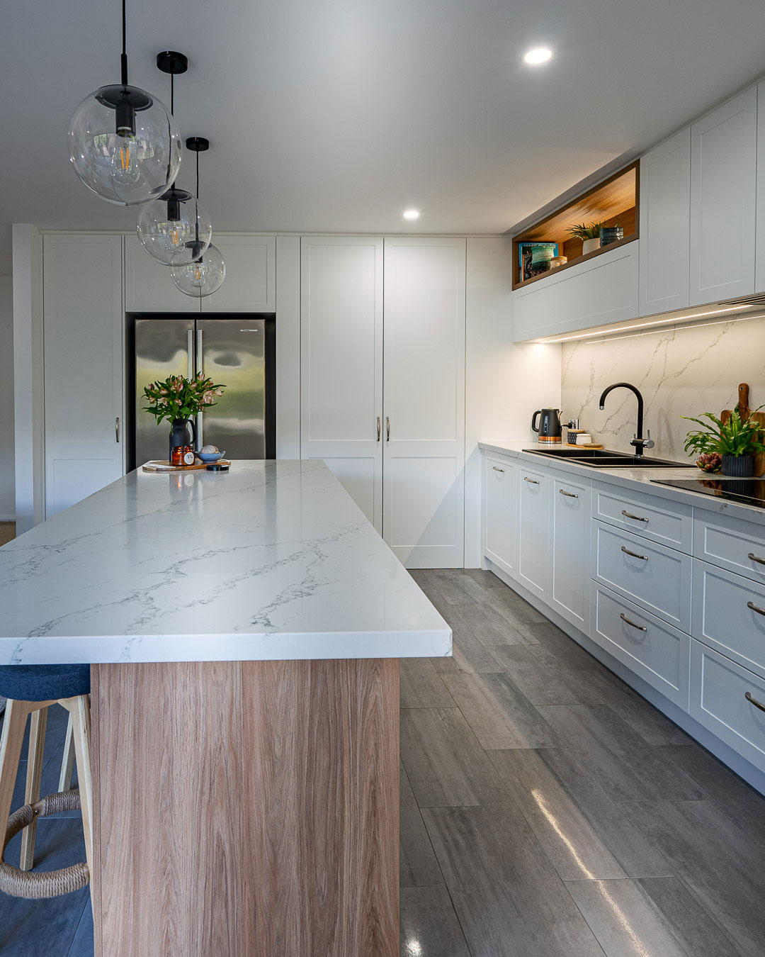 White Kitchen renovation With Marble Benchtop Resurfacing