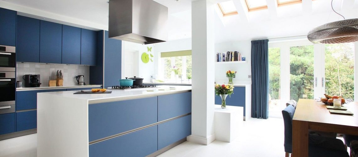 Blue Kitchen Renovation Doors Sutherland Shire Sydney